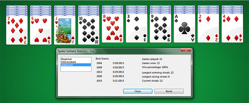 Spider Solitaire 100% Winning Stats