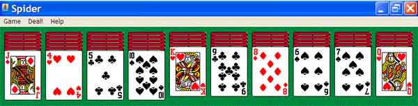 Spider Solitaire 4-suit difficult game, layout from King to 4