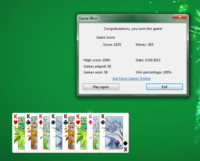 Spider Solitaire 4 suit 50 consecutive wins